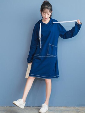 Ericdress Plain Hooded Straight Long Sleeve Casual Dress