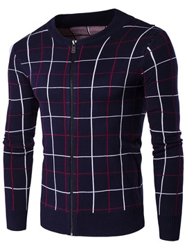Ericdress Plaid Zip Vogue Cardigan Men's Sweater