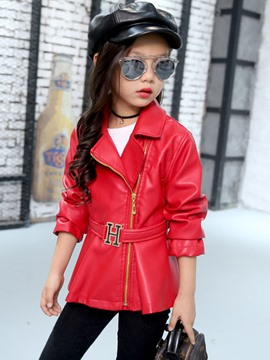 Ericdress Side Zipper Leather Belt Girls Outerwear