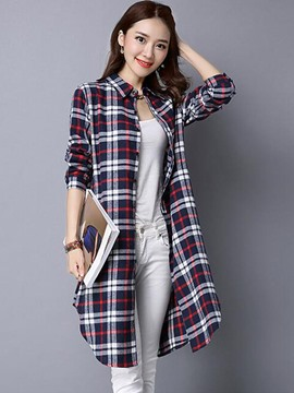 Ericdress Plaid Long Cardigan Blouse