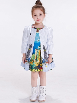 Ericdress Figure Cat Printed Belt Pleated Girls Outerwear