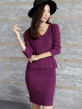 Ericdress Ladylike Knitwear Suit