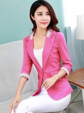 Ericdress Solid Color Slim Lace Patchwork Blazer