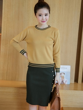 Ericdress Simple Preppy Knitwear Suit