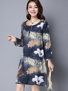 Ericdress Print Straight Casual Dress