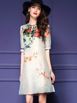 Ericdress Linen A-Line Print Casual Dress