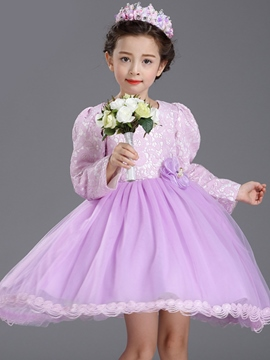 Ericdress Lace Puff Sleeve Princess Flower Girls Dress