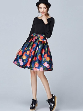 Ericdress Ladylike Bowknot Floral Print Skirt Suit