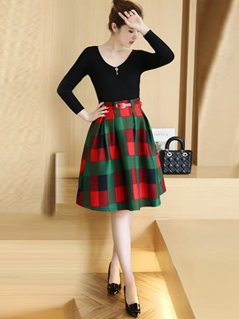 Ericdress Sweet Plaid Skirt Suit