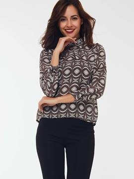 Ericdress Turtle Neck Geometric Pattern Blouse