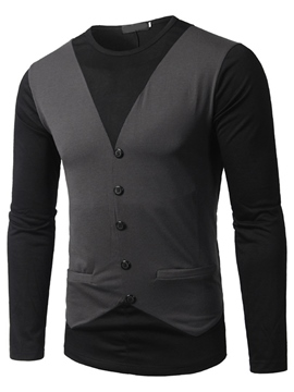 Ericdress Double-Layer Button Casual Long Sleeve Men's T-Shirt