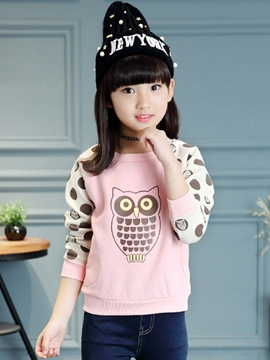 Ericdress Color Block Owl Printed Tee Girls Top