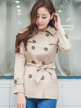 Ericdress Double-Breasted Asymmetric Slim Trench Coat