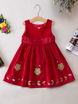 Ericdress Floral Embroidery A-Line Girls Dress