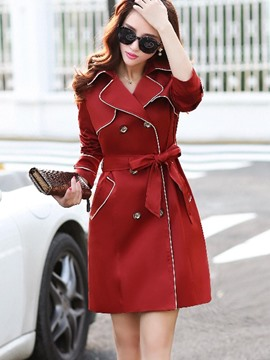 Ericdress Double-Breasted Color Block Belt Trench Coat