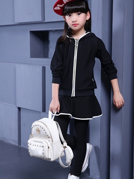 Ericdress Hemming Hooded Pattern Two-Piece Girls Outfit