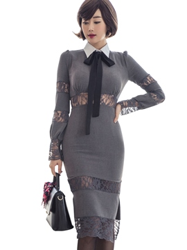 Ericdress Preppy Lace Hollow Patchwork Belt-Tied Sheath Dress