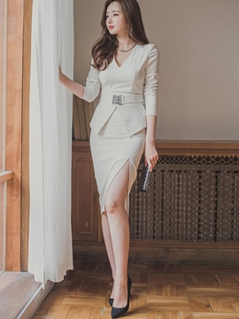 Ericdress Ladylike Solid Color Suit