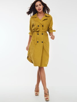 Ericdress Solid Color Slim Elegant Trench Coat