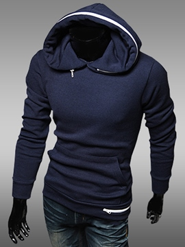 Ericdress Plain Pullover Slim Casual Men's Hoodie