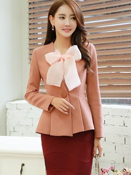 Ericdress Pleated Bowknot Blazer