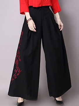 Ericdress Chinese Ethnic Embroidery Wide Legs Pants