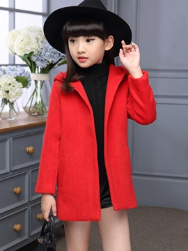 Ericdress Slant Pockets Large Hooded Girls Outerwear