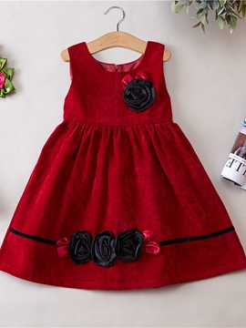 Ericdress Flower Plain Girls Dress