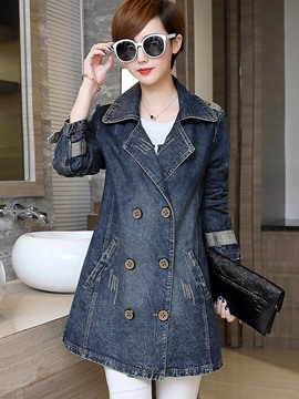 Ericdress Double-Breasted Slim Denim Outerwear
