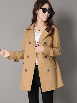 Ericdress Loose Double-Breasted Casual Trench Coat
