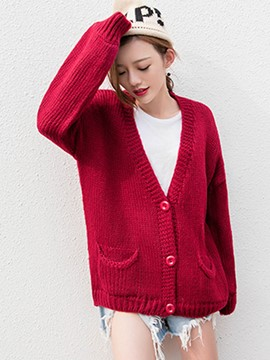Ericdress Solid Color Cardigan Loose Knitwear