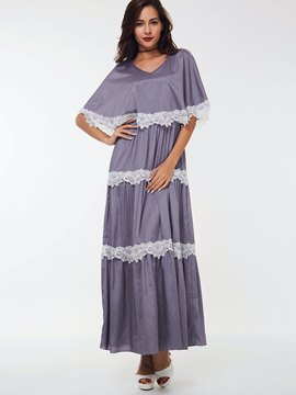Ericdress Lace-Trim Pleated Round Collar Maxi Dress