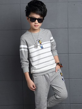 Ericdress Cartoon Embroidery Appliques Strip Two-Piece Boys Outfit