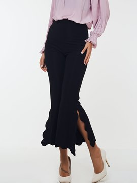 Ericdress Wave Cut Slim Bellbottoms Pants