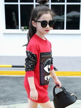 Ericdress Sequins Stacked Pattern Patch Girls Top