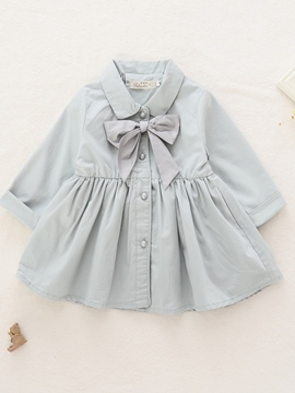 Ericdress Bow Patch Pleated Girls Outerwear