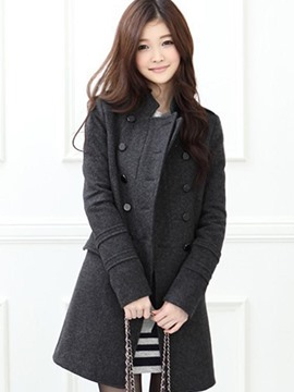 Ericdress Solid Color Slim Buttons Thick Coat