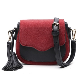 Ericdress Color Block Patchwork Nubuck Leather Crossbody Bag