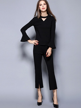 Ericdress Solid Color Flare Sleeve T-Shirt Suit