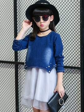 Ericdress Double-Layer Denim Patchwork Girls Dress