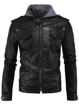 Ericdress Patchwork Hood Zip PU Casual Men's Jacket
