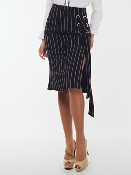 Ericdress Unique Stripe Lace-Up Skirt
