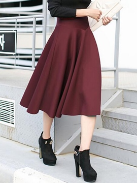 Ericdress Vintage Pleated Usual Skirt