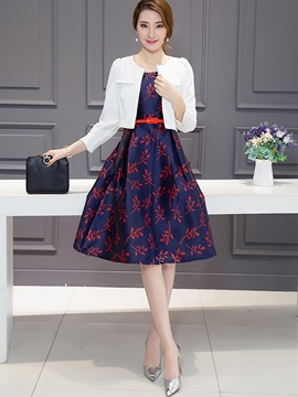 Ericdress Ladylike Print Dress Suit