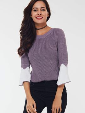 Ericdress Flare Sleeve Purple Knitwear