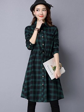 Ericdress Plaid Single-Breasted Long Blouse