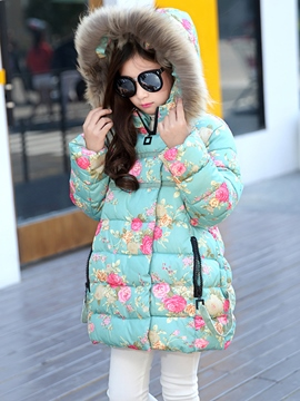 Ericdress Floral Print Hooded Girls Puffer Coat