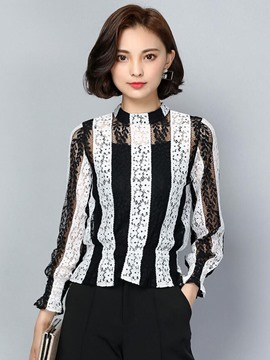 Ericdress Floral Crochet Stripe Blouse