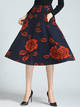 Ericdress Vintage Print Usual Skirt