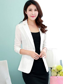 Ericdress Solid Color Polo Slim Simple Blazer